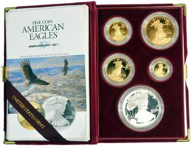 1995-w 5 Coin American Eagle Anniversary Set Proof