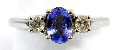 Ladies 14k Gold Tanzanite  Diamond Ring Size 6
