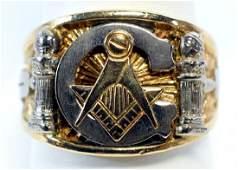 Men's Vintage Masonic 10k Gold Ring Size 11