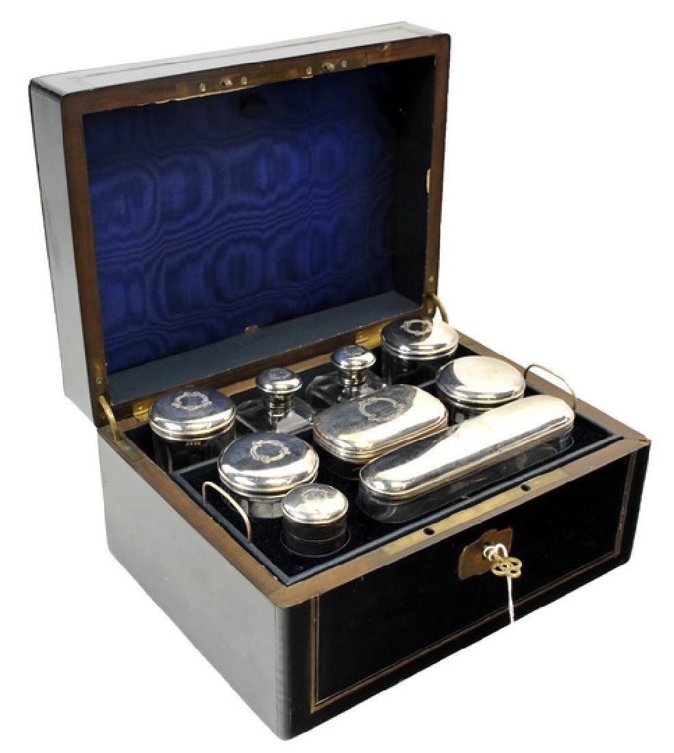 Excellent Antique Silver-plate Ladies Beauty Kit