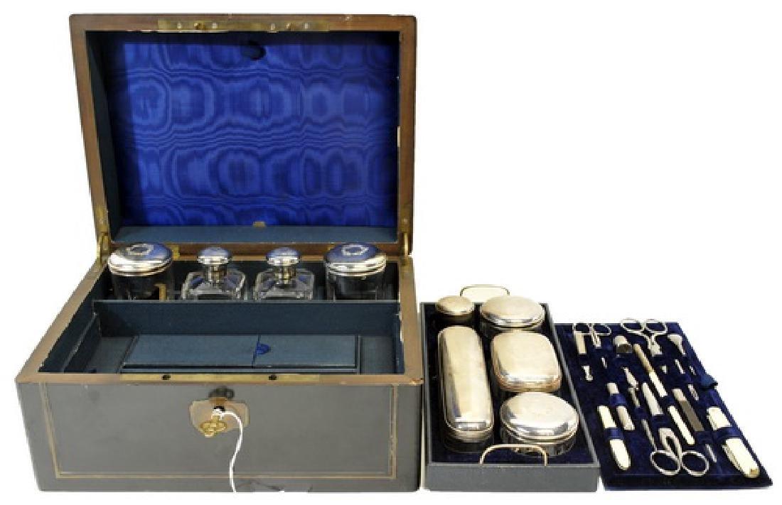 Excellent Antique Silver-plate Ladies Beauty Kit - 2