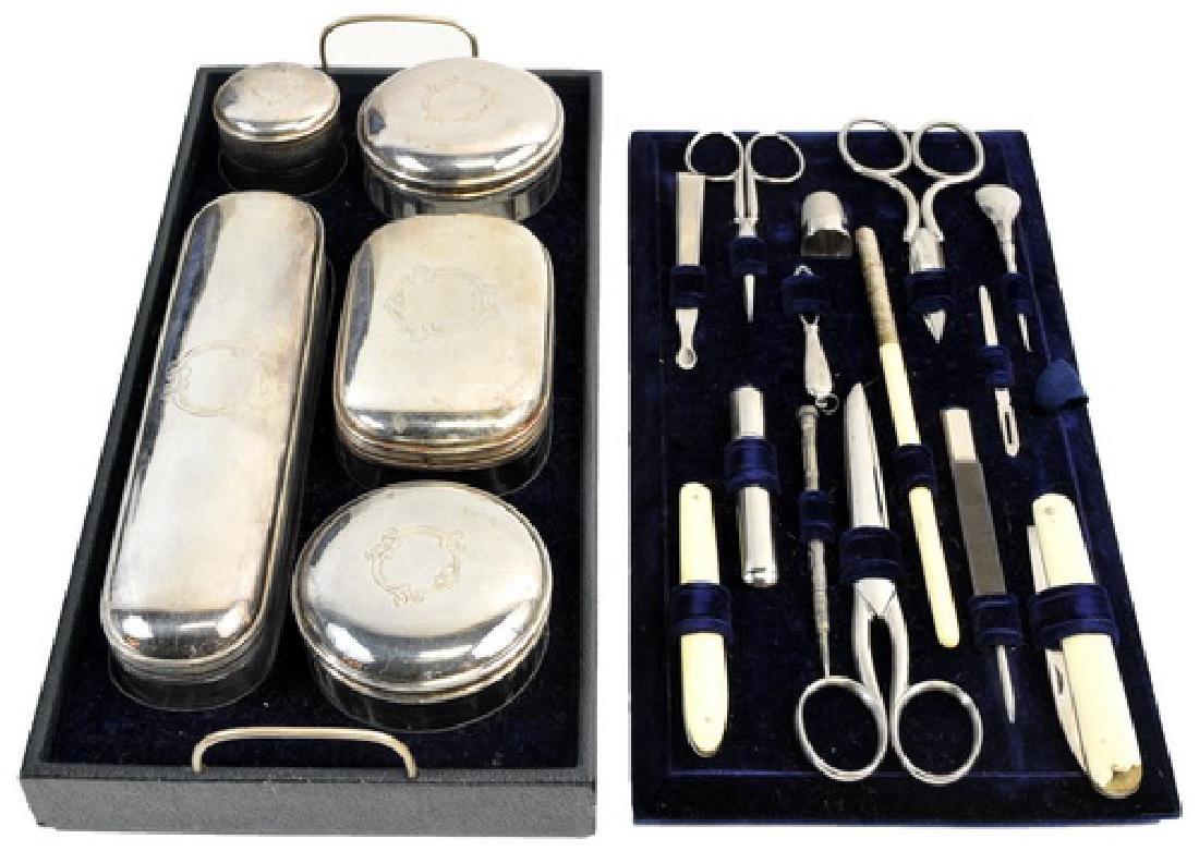 Excellent Antique Silver-plate Ladies Beauty Kit - 3