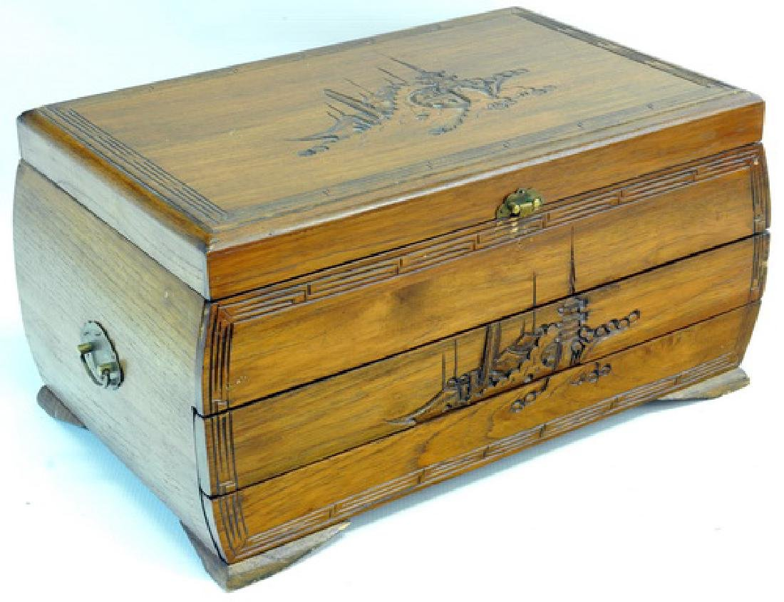 Vintage Wooden Jewelry Box Full of Jewelry & Watch - 5