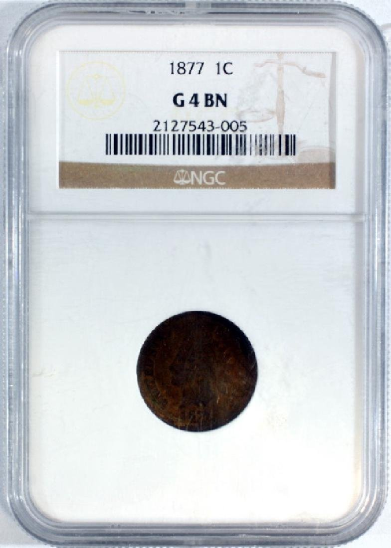 1877 Us Indian Head Cent Graded By Ngc G 4 Bn