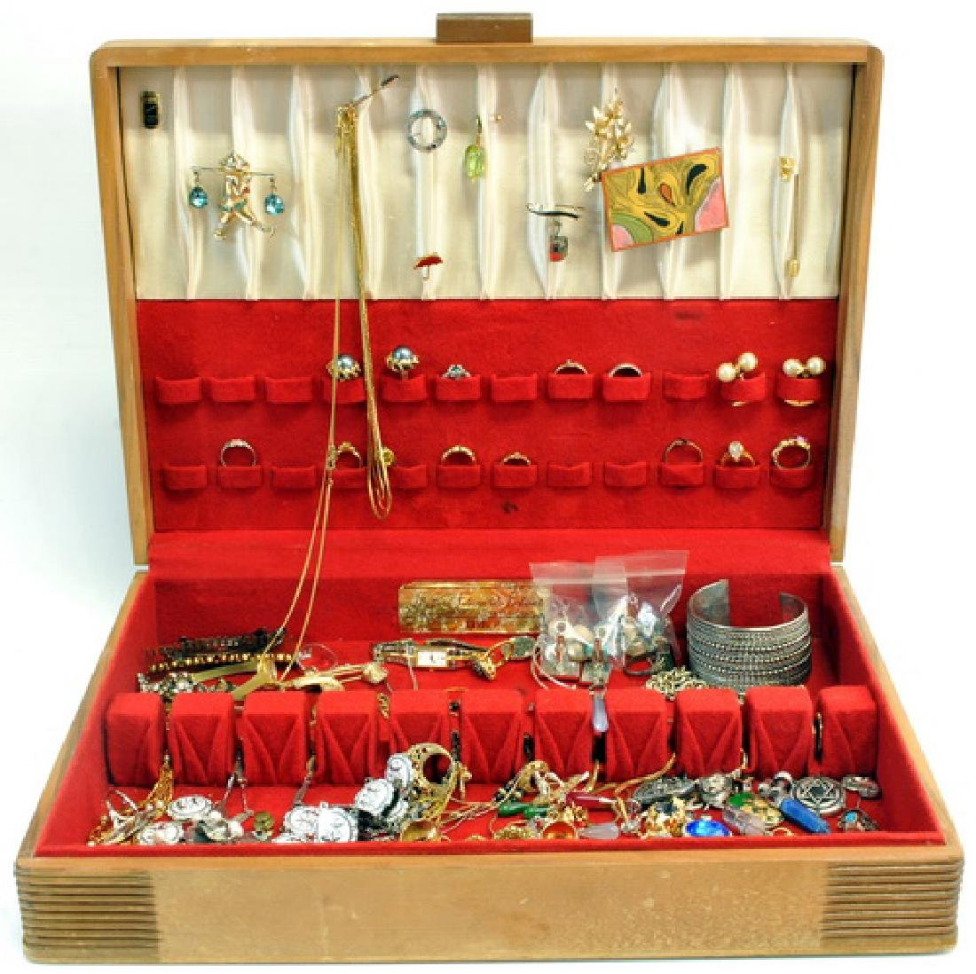Group of Jewelry in a wooden display box