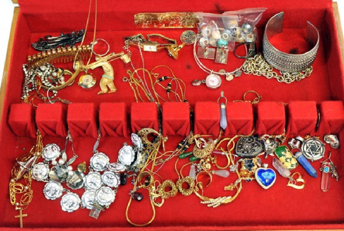 Group of Jewelry in a wooden display box - 2