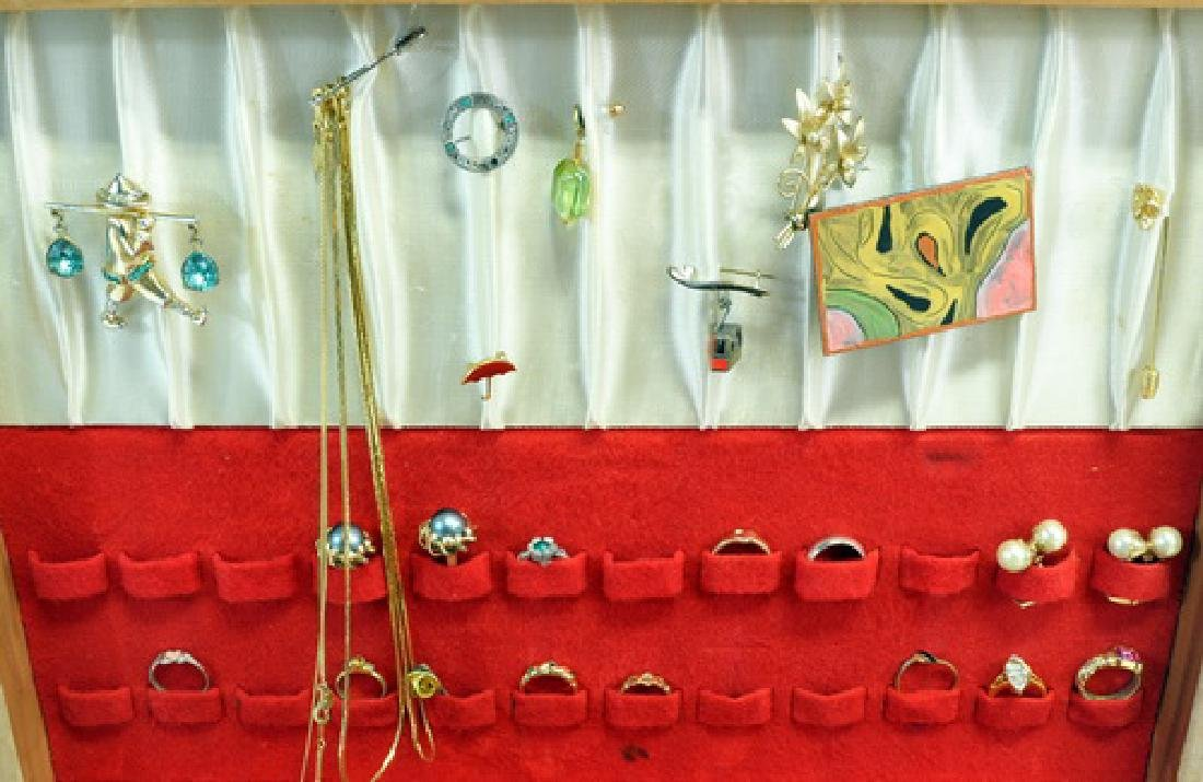 Group of Jewelry in a wooden display box - 3