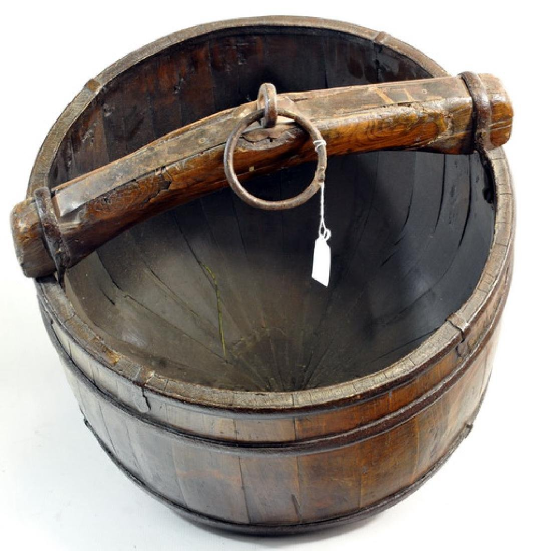 Antique Chinese Well Bucket And Catch Bucket - 2