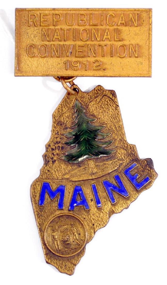 Rare 1912 Maine Republican Convention Badge