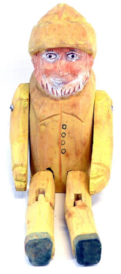 1 Vintage Hand Carved Fisherman in Yellow Wet - 3