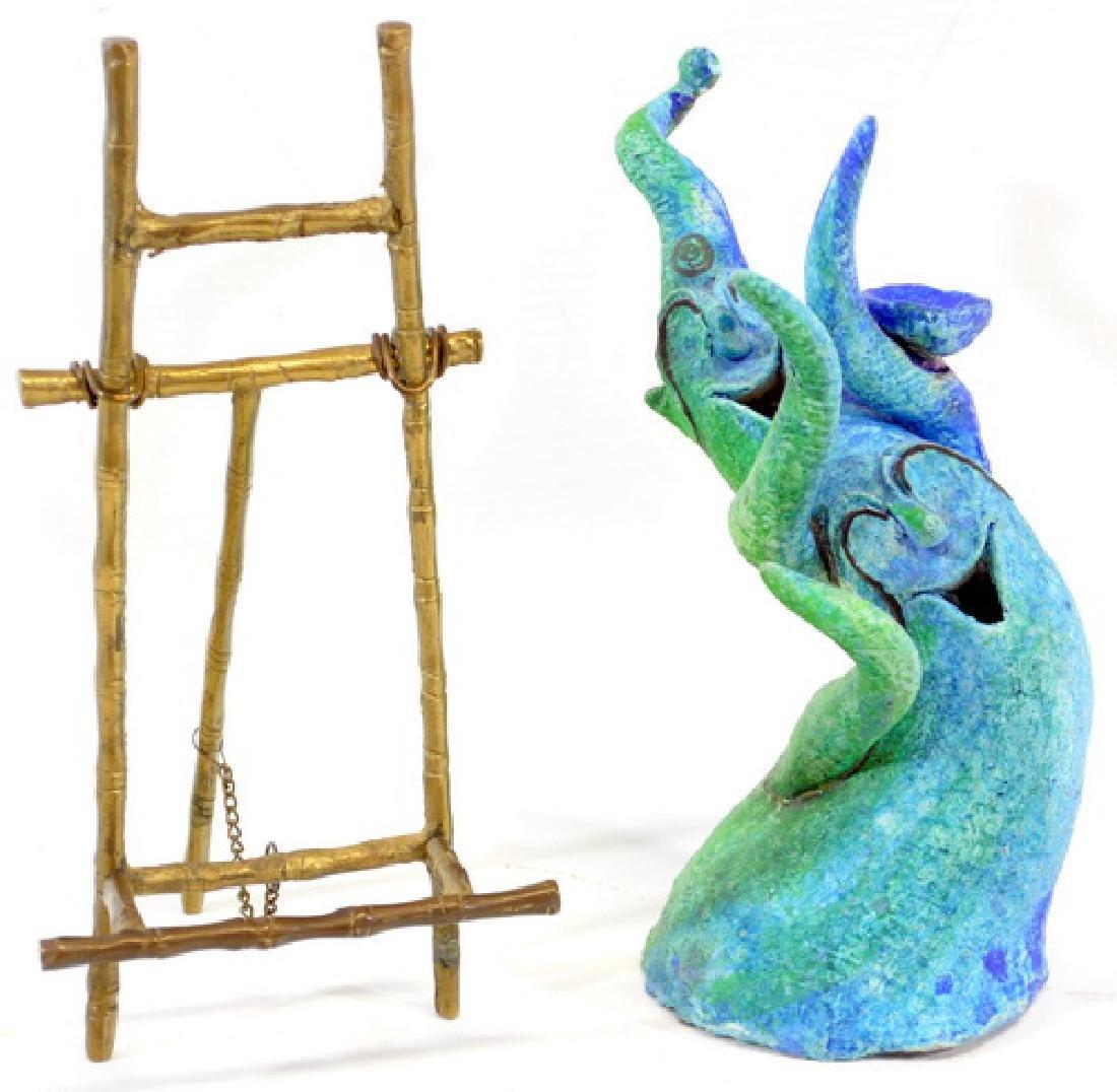 Bronze Bookend, Folding Mini Easel/Whimsy Figure - 3