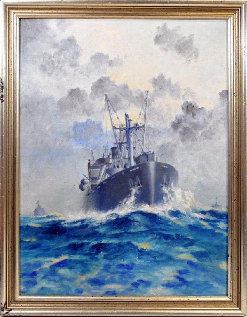 WWII Oil On Board US Navy Ships in Convoy
