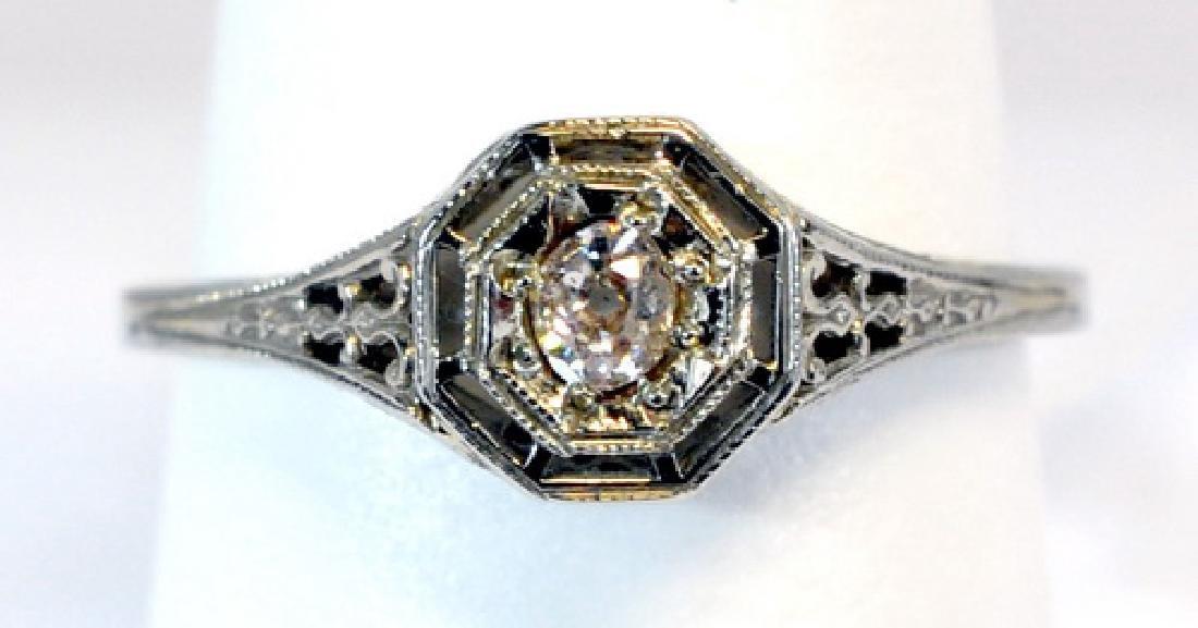 Antique Ladies 18kt. White Gold Diamond Ring
