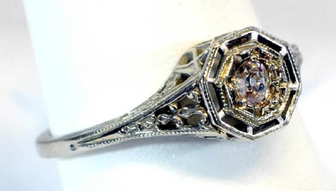 Antique Ladies 18kt. White Gold Diamond Ring - 2