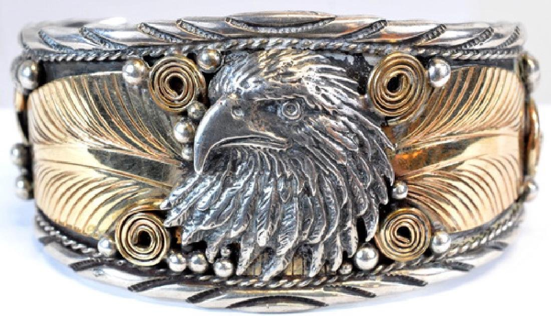 Sterling And Gold Eagle Bracelet