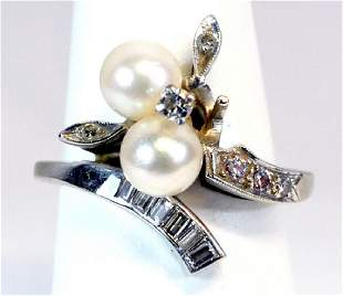 14kt. Ladies Diamond And Pearl Ring