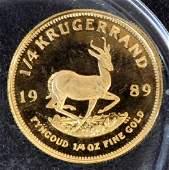 1989 South African 1/4 Ozt Krugerrand Proof Gold