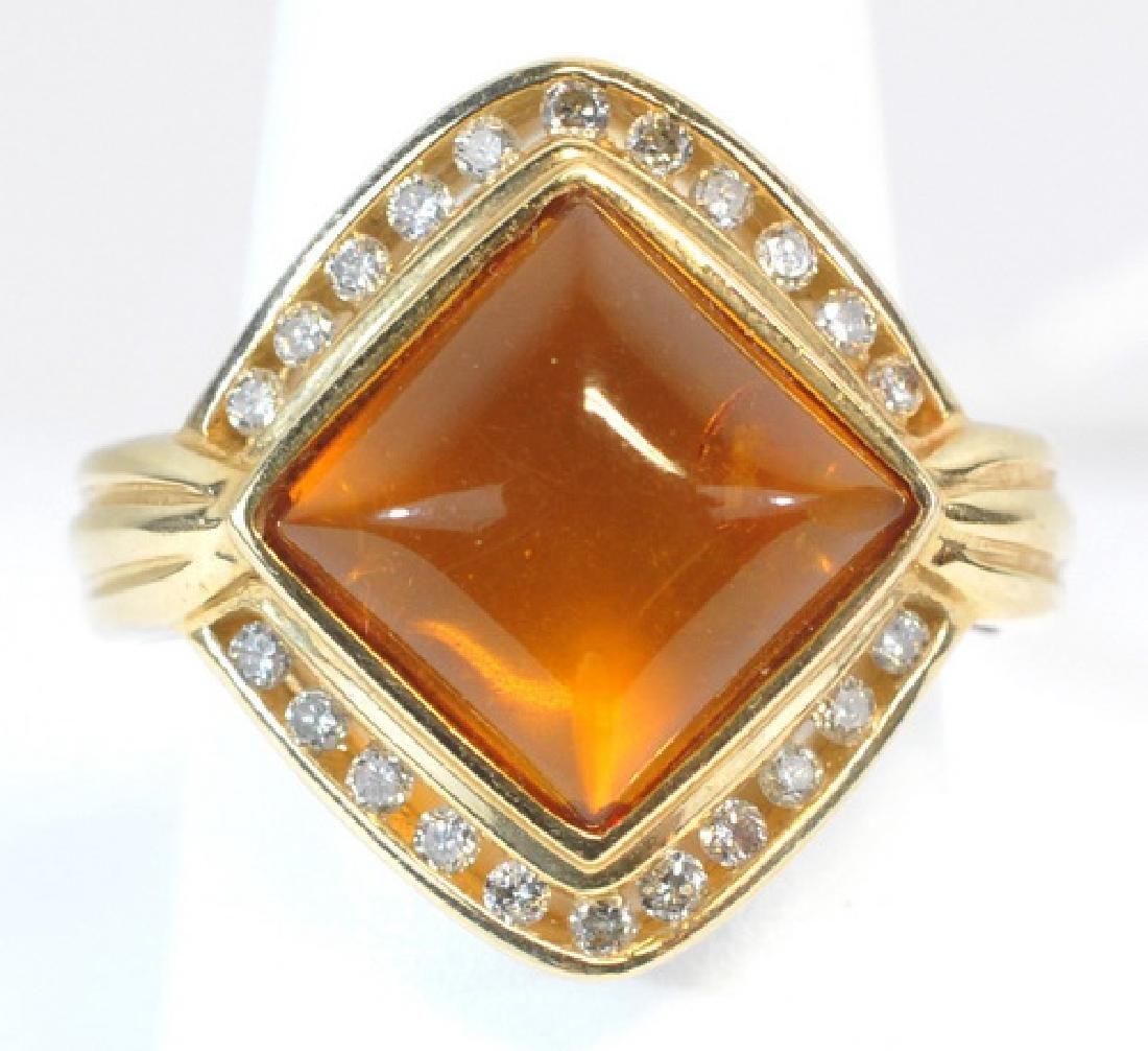 14kt. Ladies Citrine And Diamond Ring