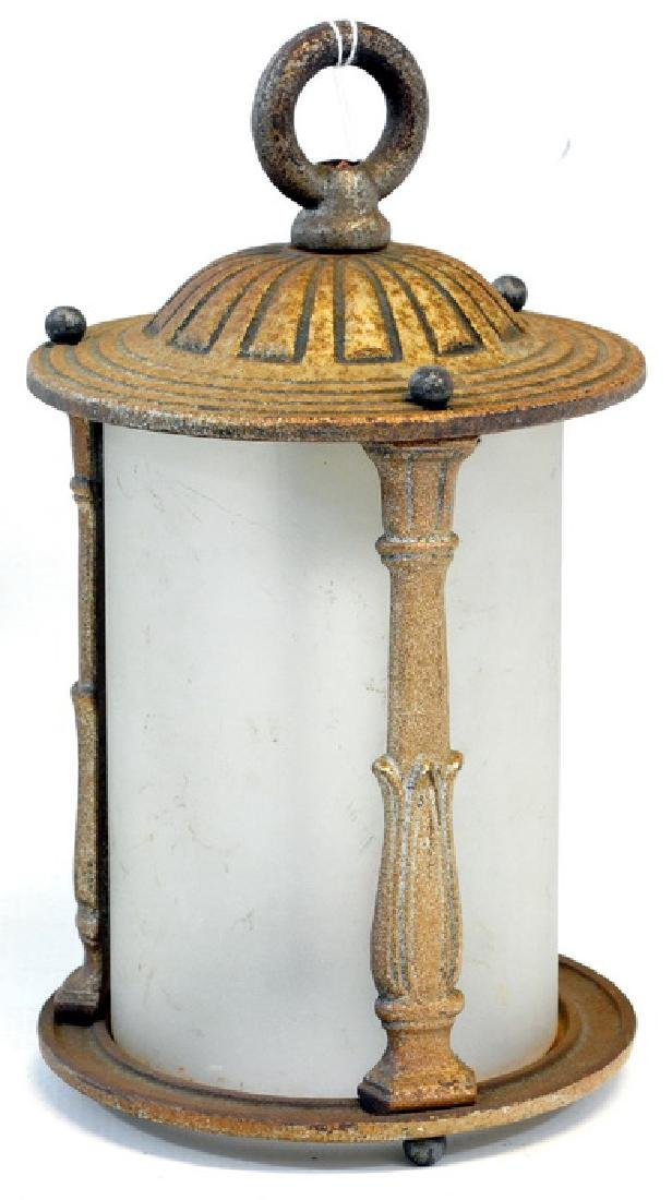1 Vintage Porch Light Bronzed Iron With Frosted