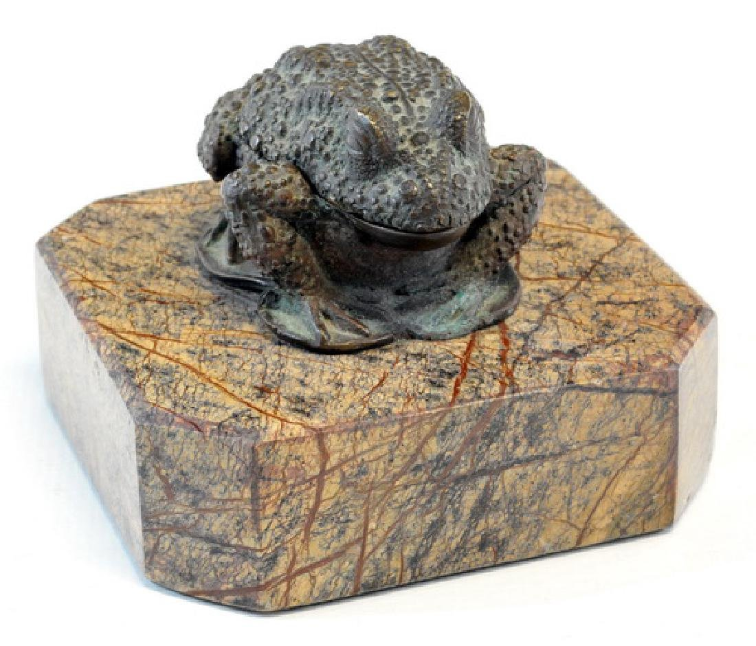 "1 Vintage ""Heavy Bronze"" Frog Box, Mounted On"