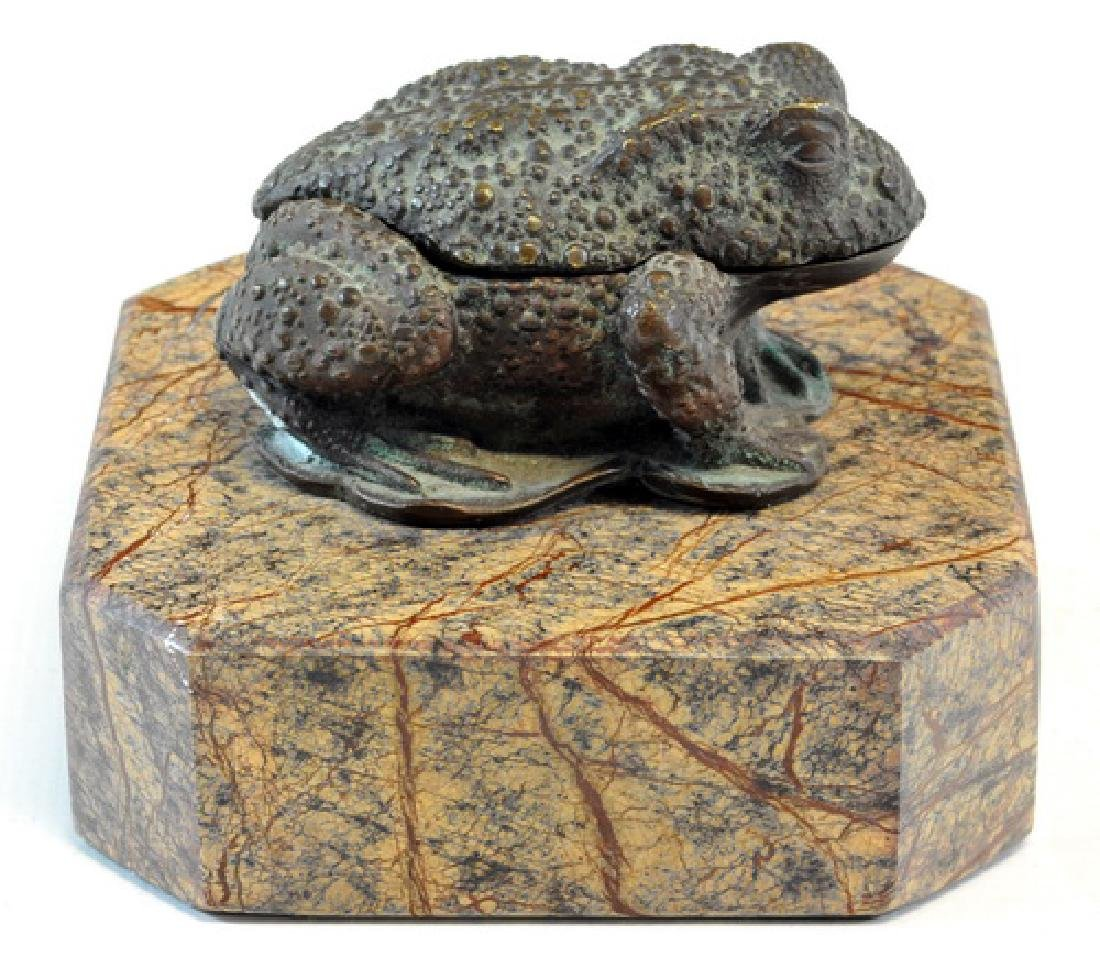"1 Vintage ""Heavy Bronze"" Frog Box, Mounted On - 2"