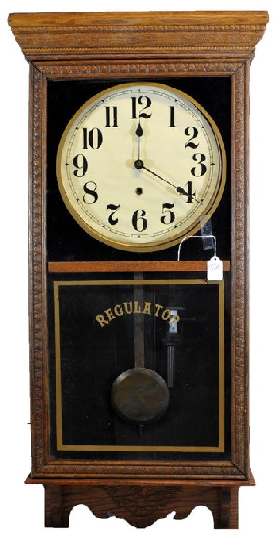 Antique Oak Regulator Clock