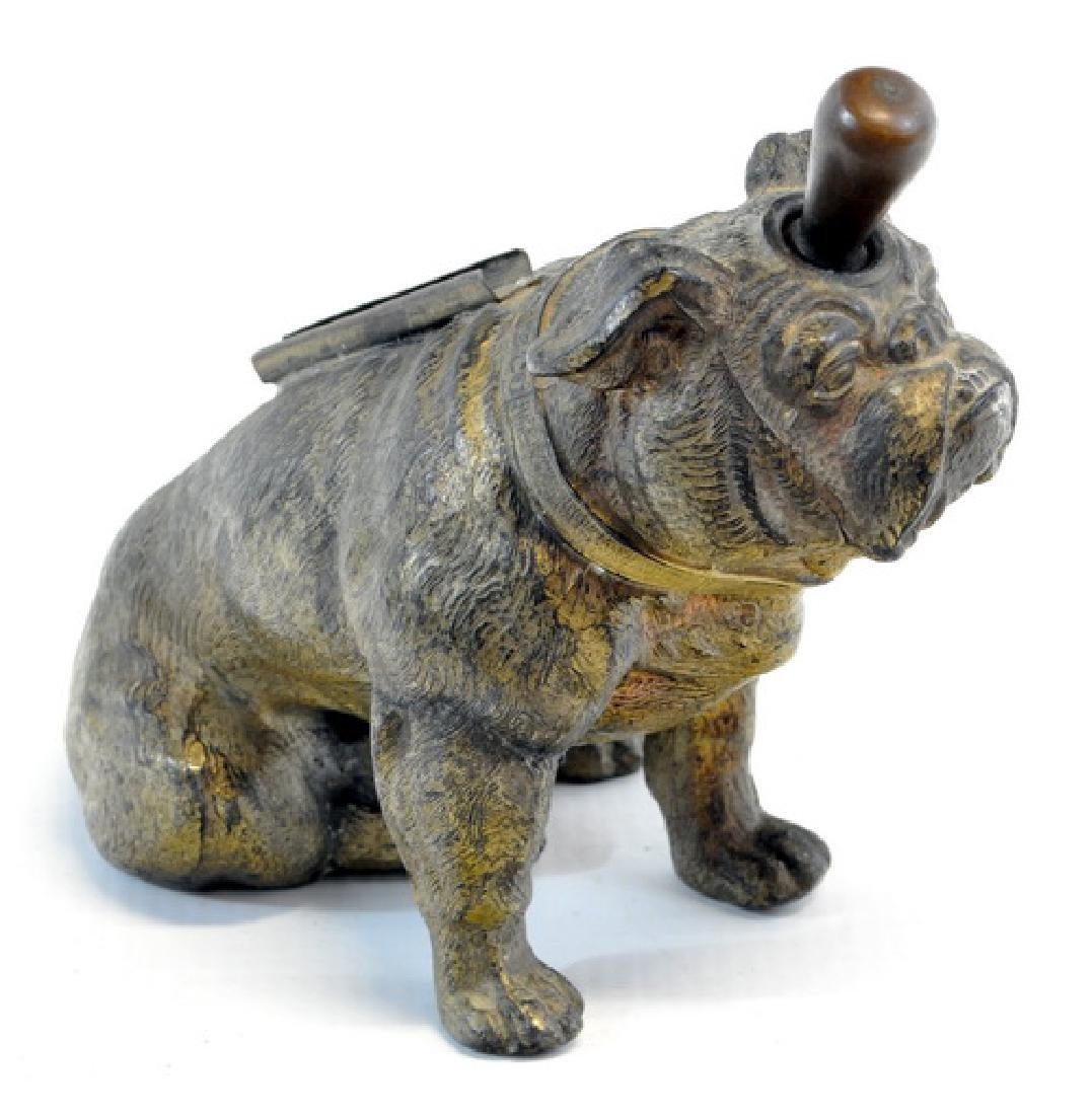 Antique Bronze Bulldog Fireplace Lighter