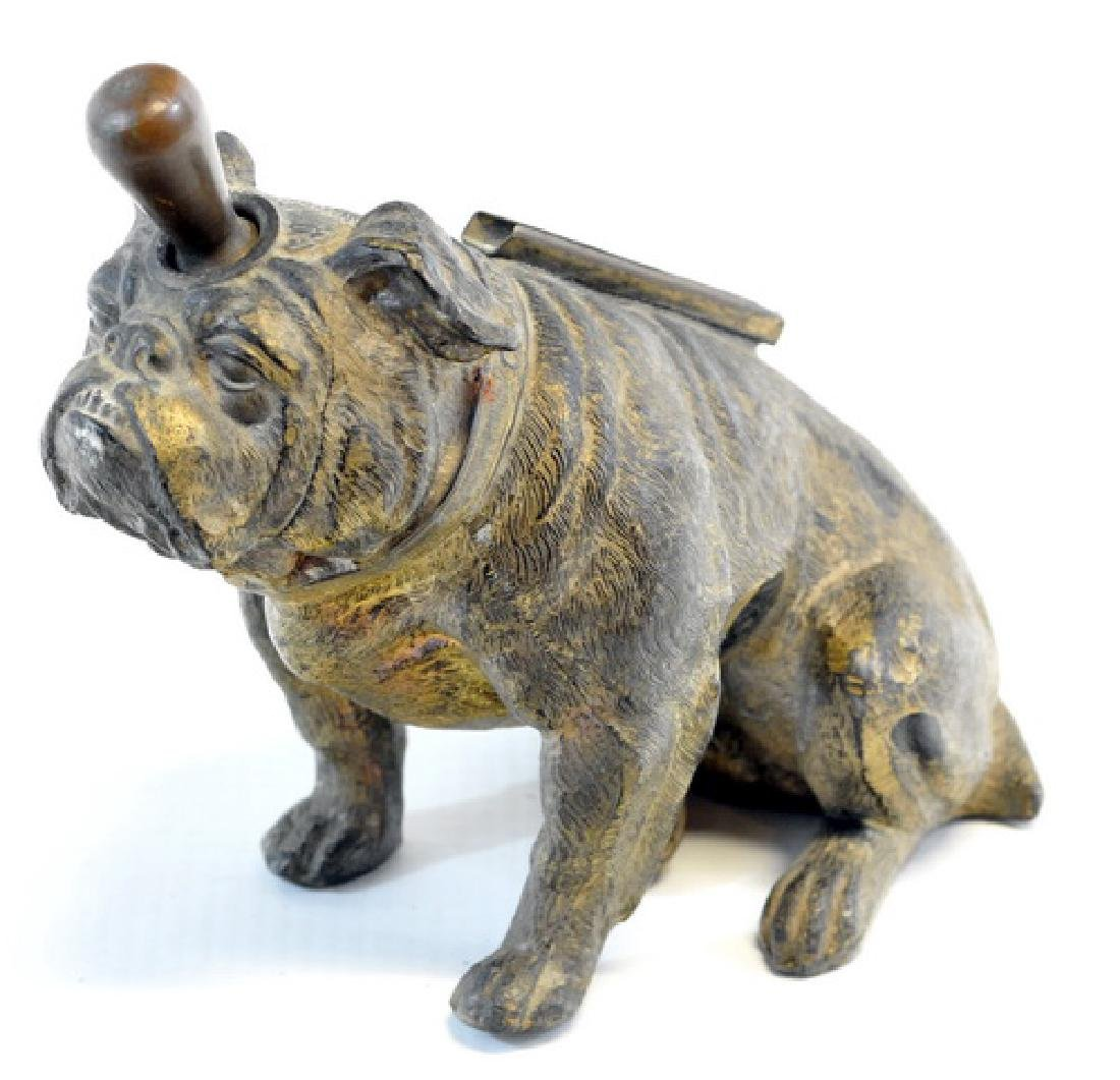 Antique Bronze Bulldog Fireplace Lighter - 2