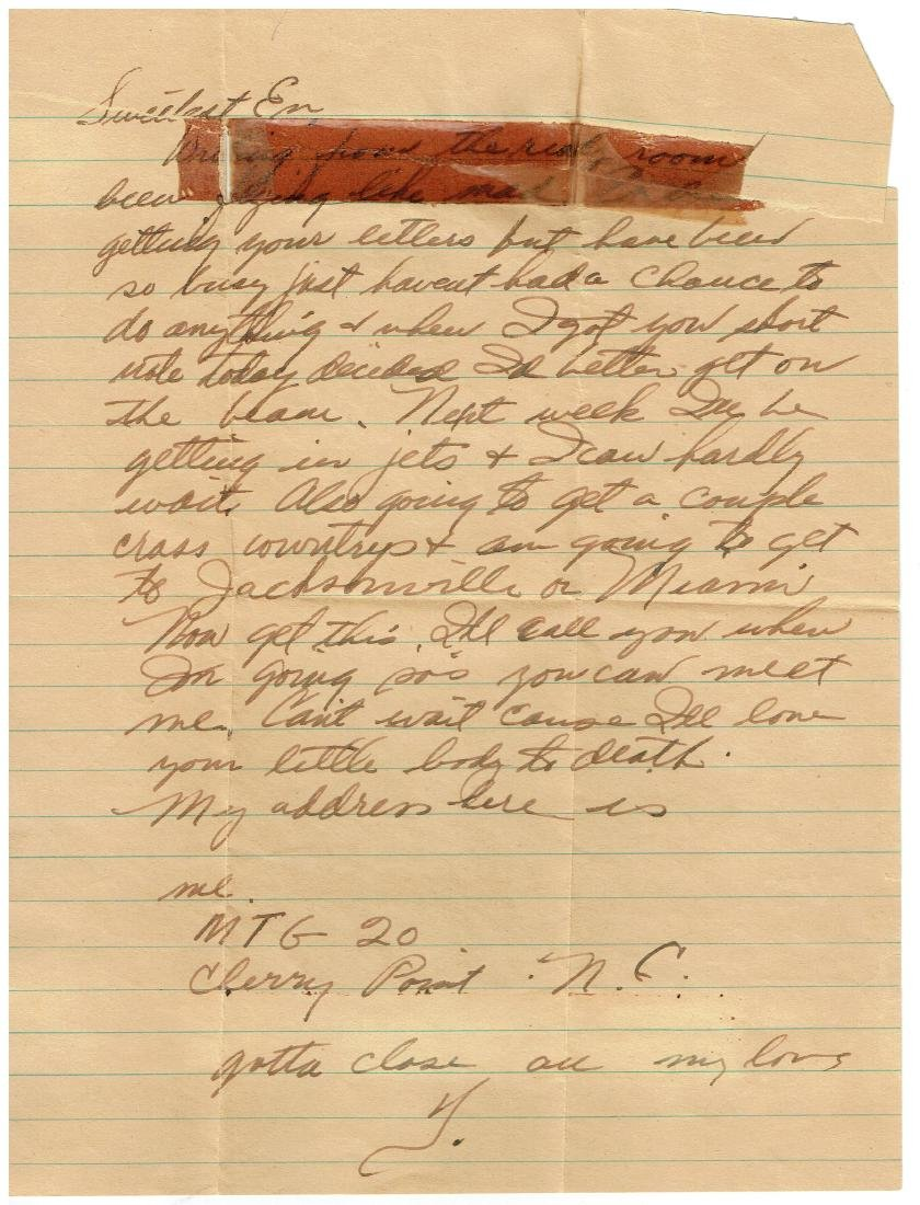 July 31 1952 Letter Written By Ted Williams