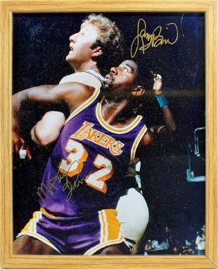 Magic Johnson Larry Bird Signed Photo