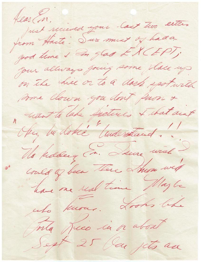 September 3 1952 Letter Written By Ted Williams