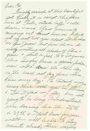 October 17 1952 Letter Written By Ted Williams