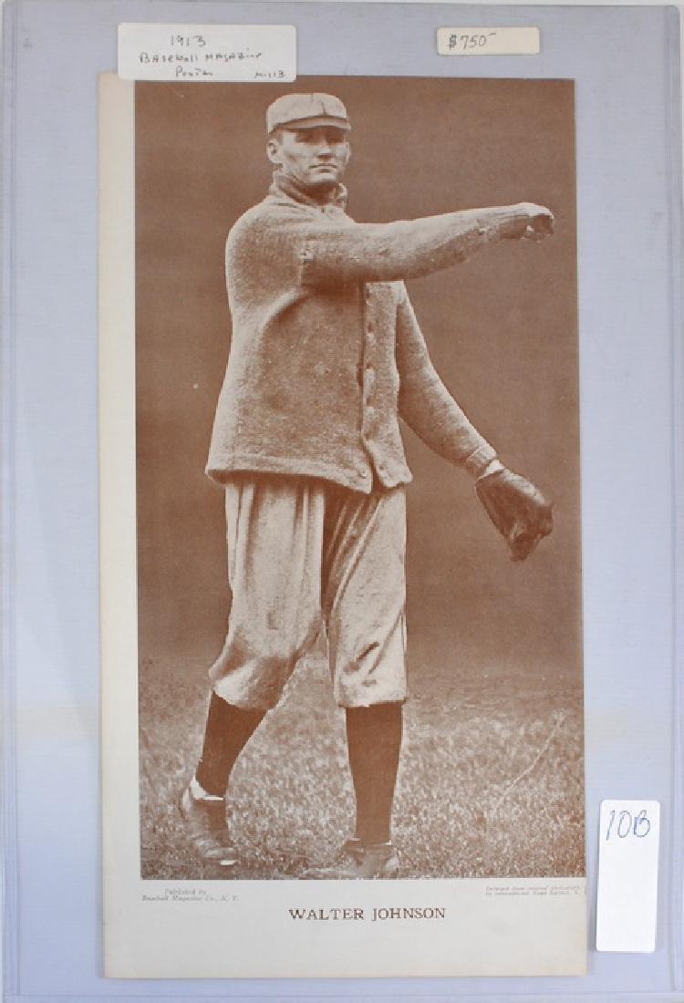 1913 Walter Johnson Baseball Magazine Poster