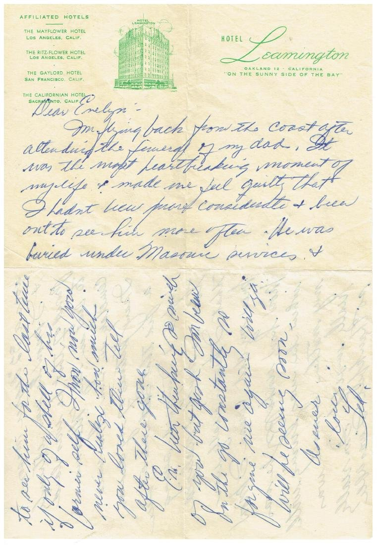 November 21 1952 Letter Written By Ted Williams