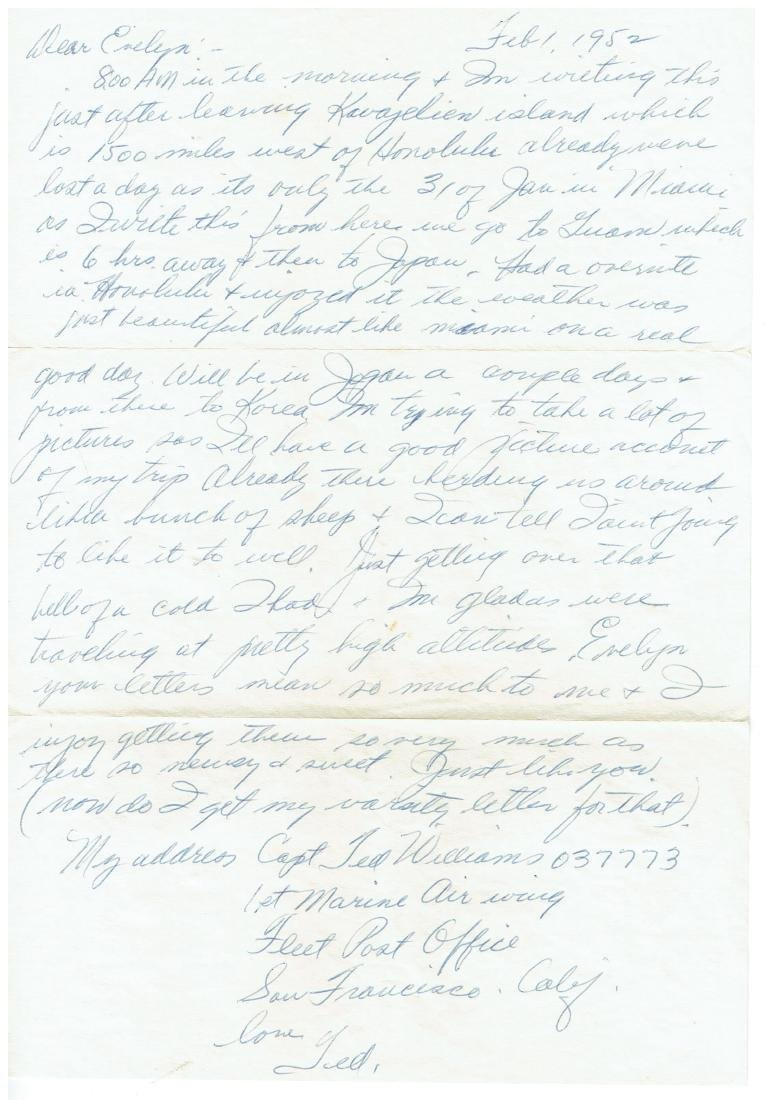 February 1 1953 Letter Written By Ted Williams