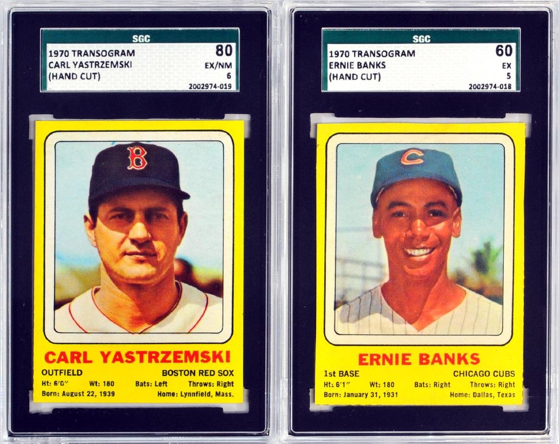 Two 1970 Transogram Cards Yaz And Ernie Banks