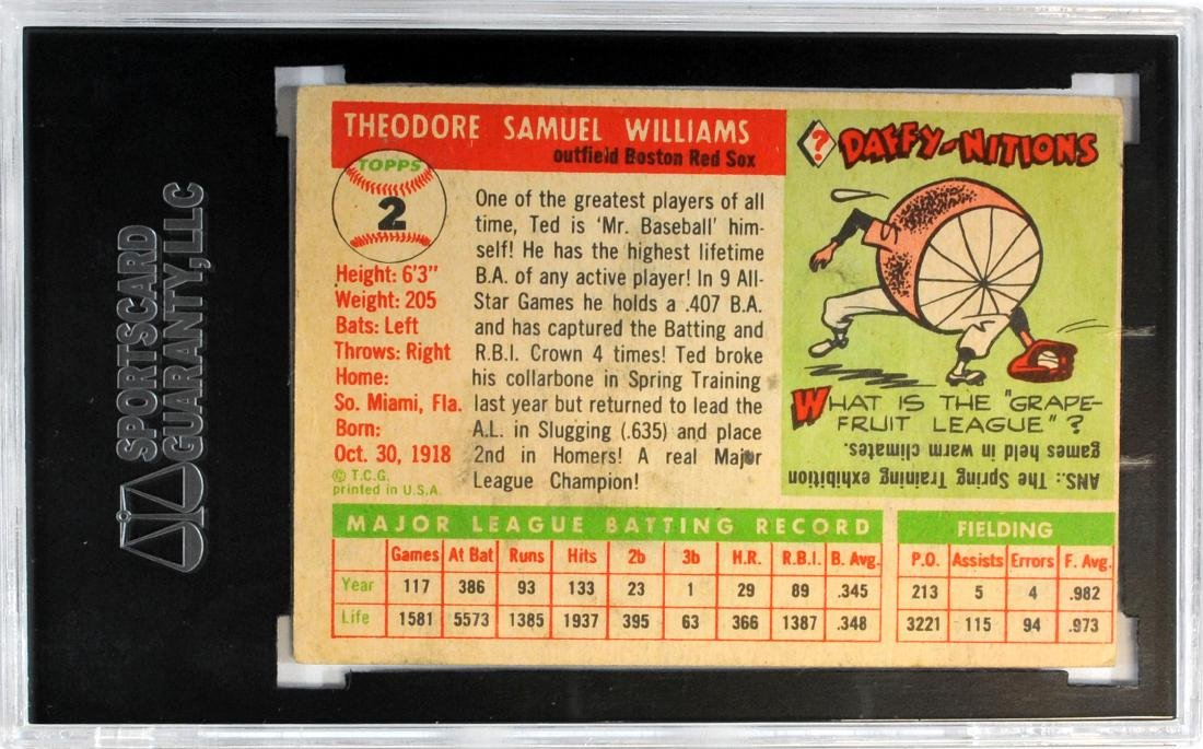 1955 Topps Ted Williams Card #2 - 2