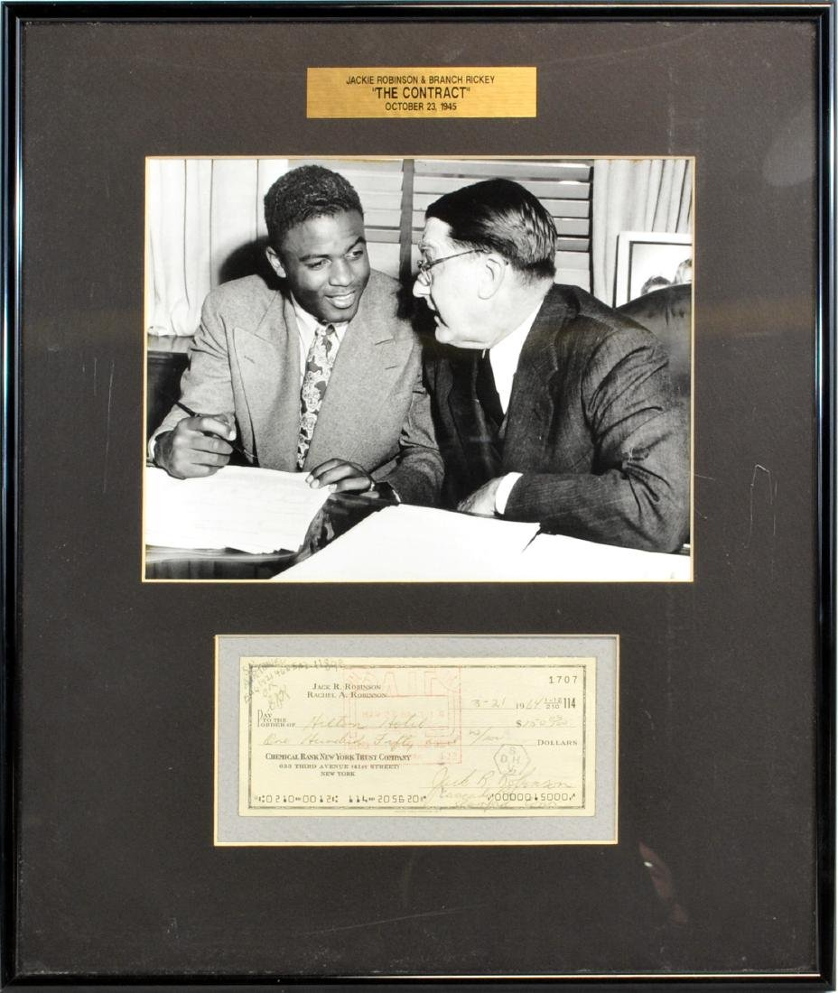 Jackie Robinson Framed Signed Check