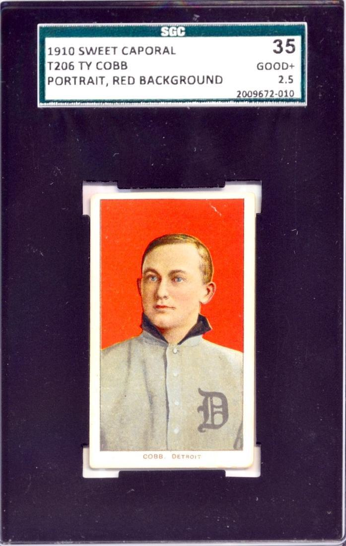1910 T206 Ty Cobb Red Portrait Sgc 35