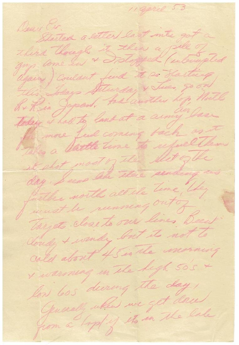 April 11 1953 Letter Written By Ted Williams