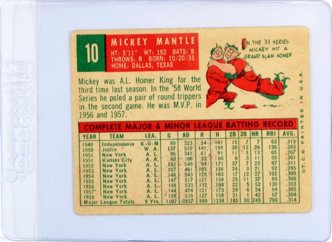 1959 Topps Mickey Mantle - 2
