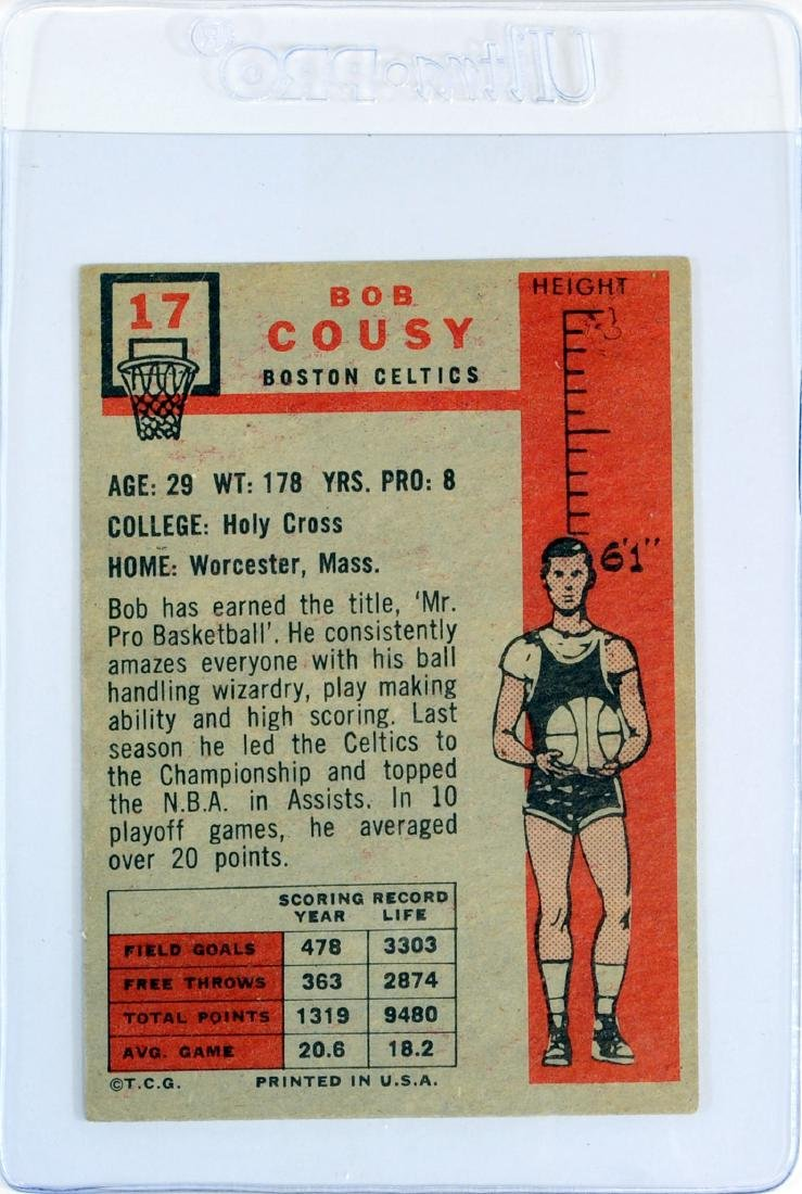 1957 Topps Bob Cousy Rookie Card - 2