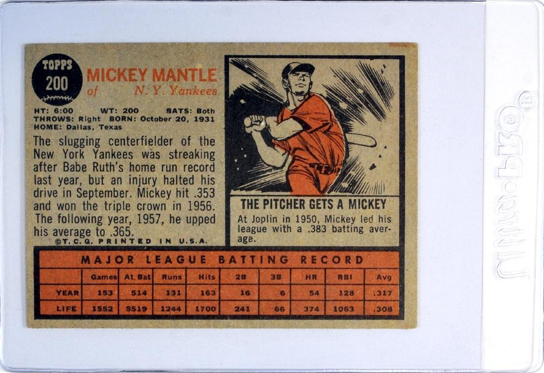 1962 Topps Mickey Mantle - 2