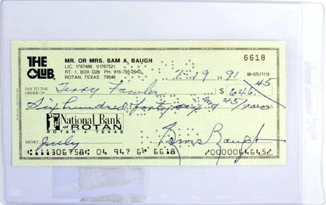 Sammy Baugh Signed Check Circa 1991
