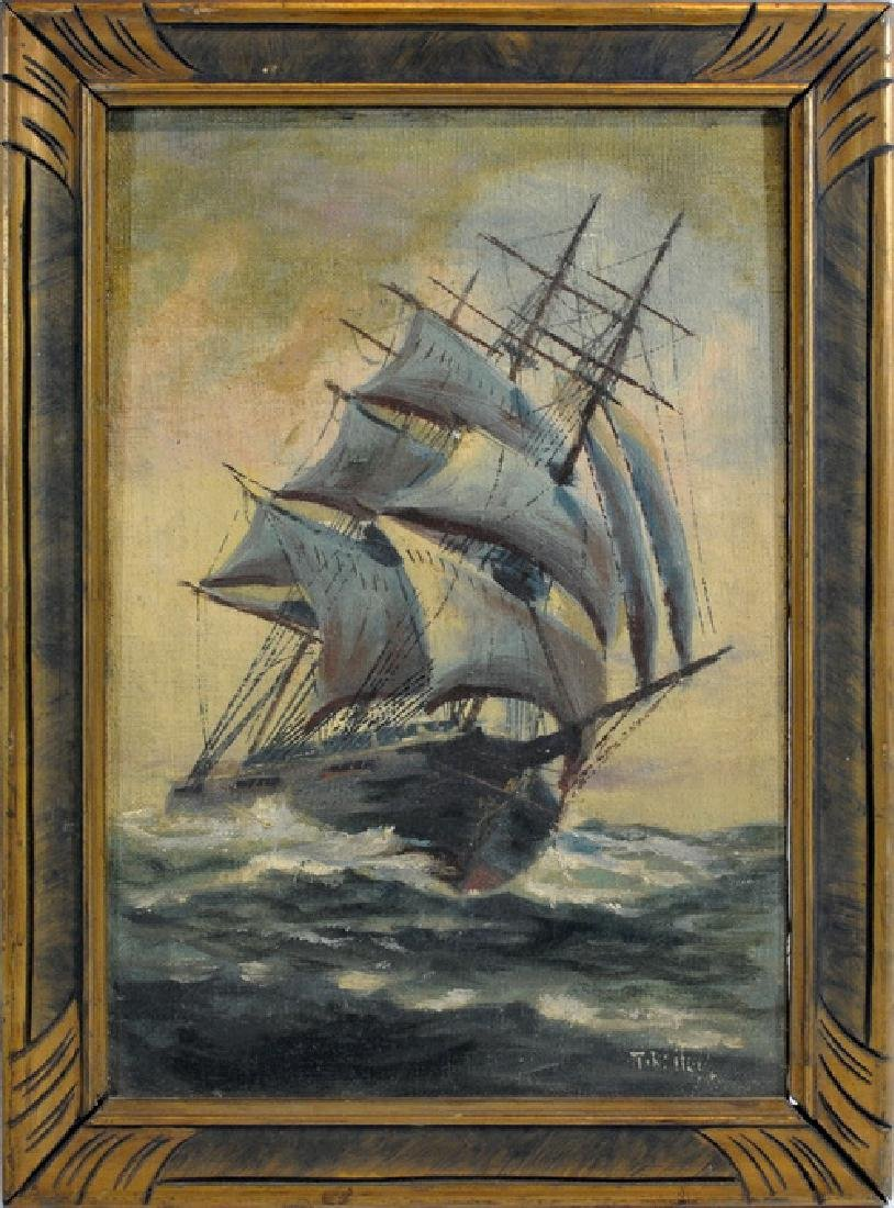 Oil On Canvas Of Masted Ship Signed T. Bailey