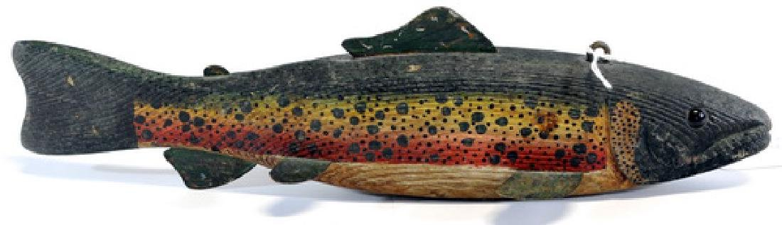 "Antique 12"" Trout Hand Carved Decoy"