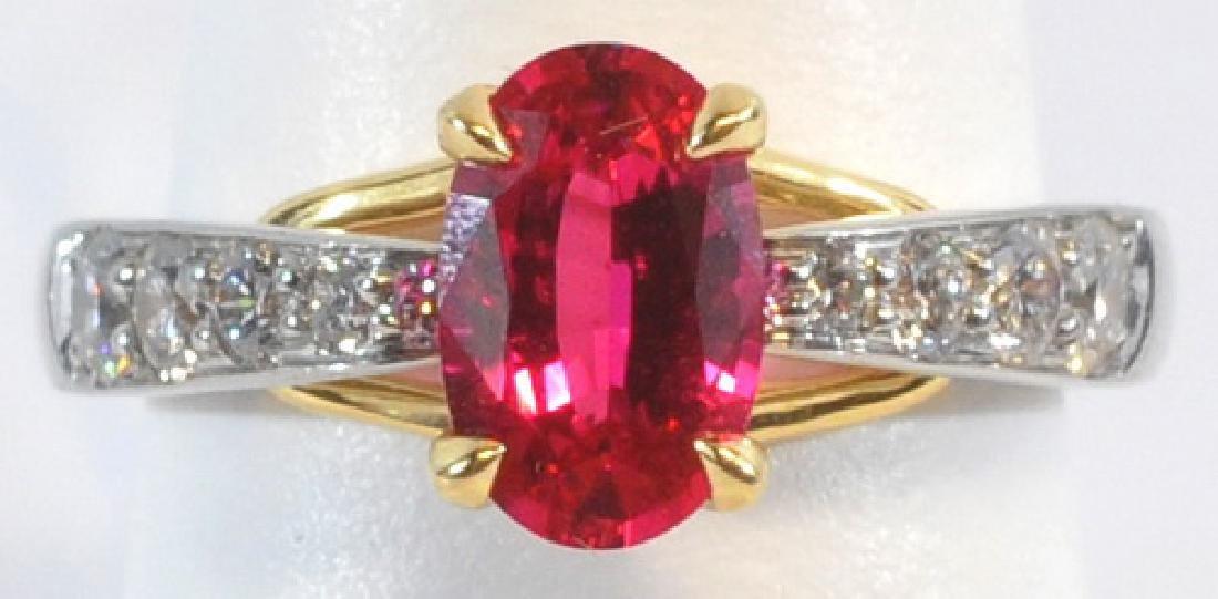 Ladies 18kt Gold/platinum 1.29 Ct. Spinel Ring