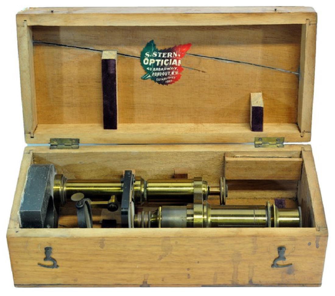 Antique Brass Microscope In Original Box