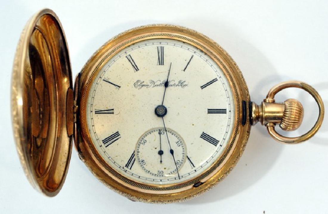 Antique Elgin Pocket Watch In Glass Case