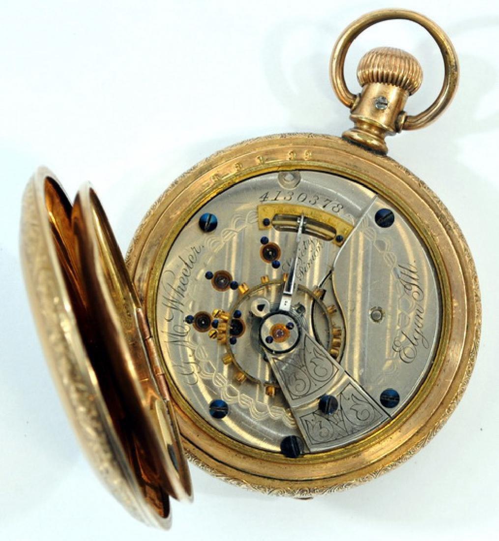 Antique Elgin Pocket Watch In Glass Case - 2